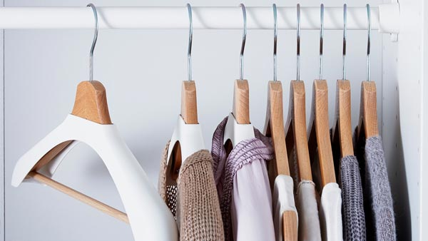 wooden BUMERANG hangers with white covers