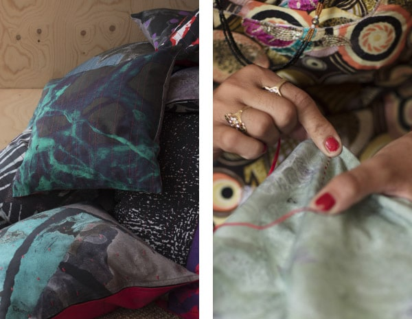 Cushion covers with abstract prints and hand embroidery in green, grey, black and red from the ANNANSTANS collection.