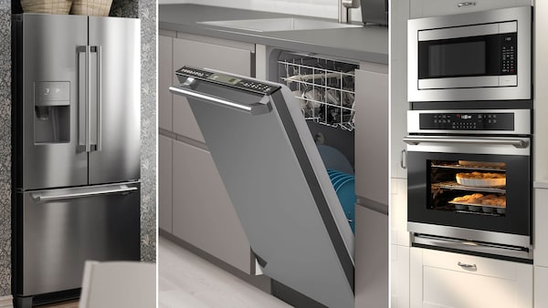 Three image collage of stainless steel appliances including a fridge, a dishwasher, and an oven with a microwave above it.