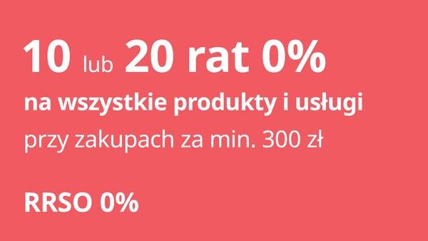 10 lub 20 rat 0% na wszystkie produkty i usługi przy zakupach za min. 300zł. RRSO 0%. Oferta dla Klubowiczów IKEA Family, ważna do 31.08.2021.