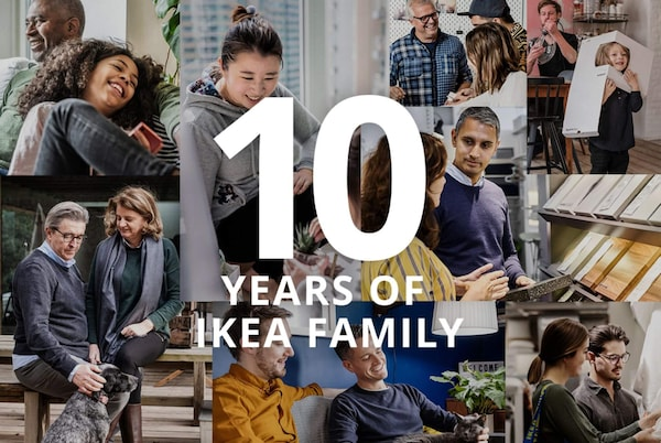 10 years of IKEA Family photo collage