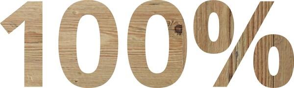 «100 %» skrevet med tretekstur.