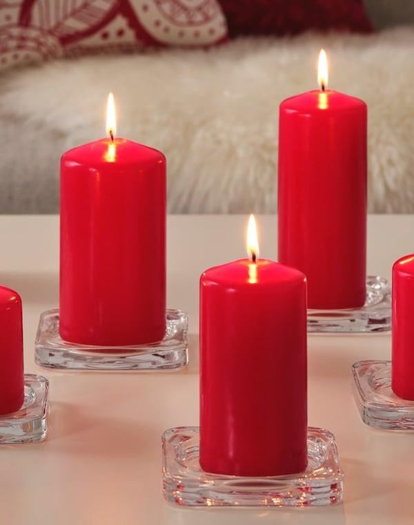 Зимняя коллекция свечи красные