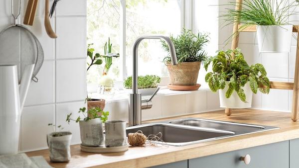 Wasserhahn mit Sensor in einer begrünten Küche