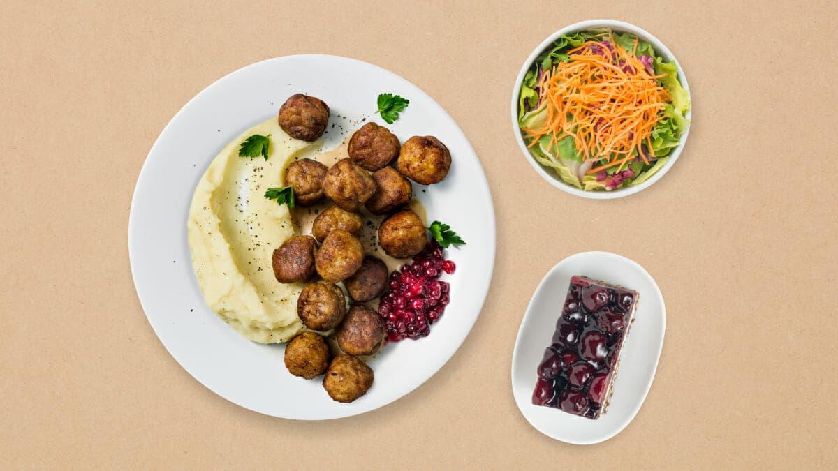 15 Fleischbällchen mit Kartoffelstock und Preiselbeerkonfitüre + 1 Menüsalat + 1 Kirsch-schokoladenkuchen