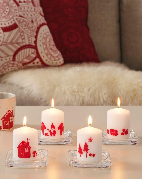 Зимняя коллекция свечи и чехол на подушку