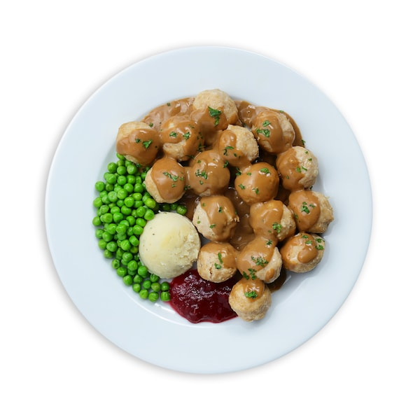 16pcs Chicken balls with mashed potatoes and green peas