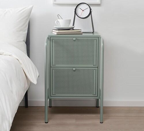 Серо-зеленый металлический комод для спальни