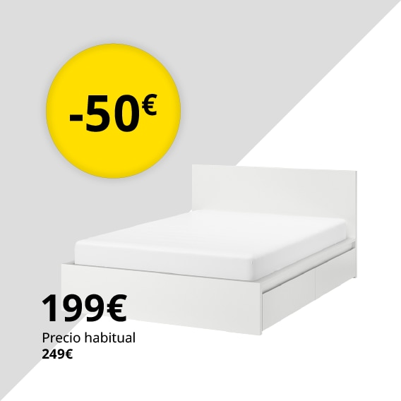 Estructura de cama con 4 cajones, blanco, 140x200 cm