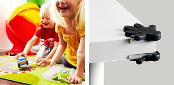러그 위에서 놀고 있는 어린이 2명과 코너 범퍼를 설치한 테이블 코너