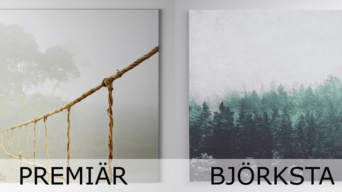 2 Bilder hängen an einer Wand. Links sieht man eine Brücke, rechts einen Wald.