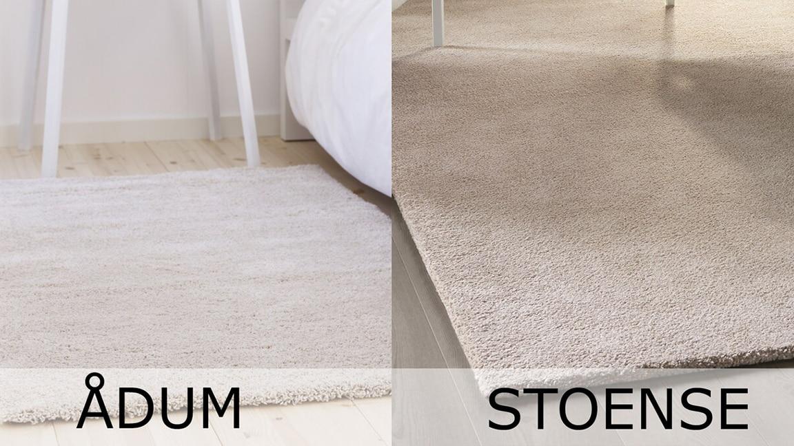 2 Bilder mit 2 hellen Teppichen. Links ein ÅDUM Teppich, rechts ein STOENSE Teppich.