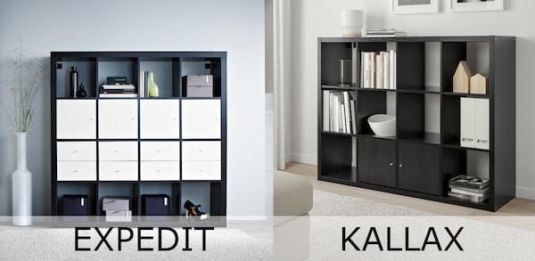 2 Bilder mit je einem schwarzen Regal. Links ein EXPEDIT Regal, rechts ein Regal von KALLAX.