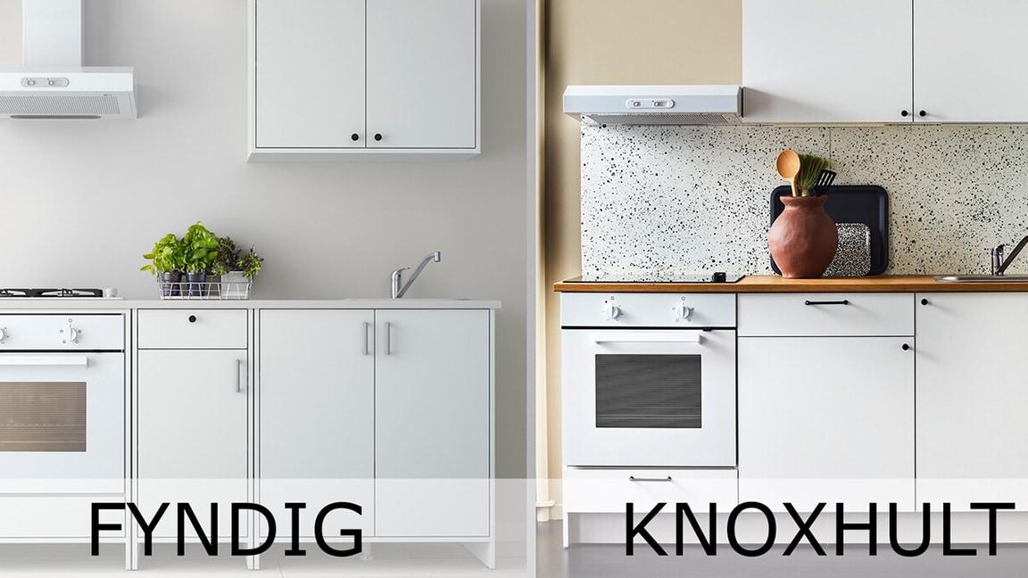 2 Bilder von 2 weißen Küchen. Auf der linken Seite eine FYNDIG Küche, rechts eine KNOXHULT Küche.