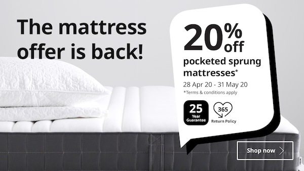 20% off  pocketed sprung mattresses from 28 April - 31 May 2020