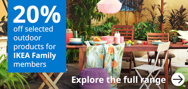 20% off selected outdoor products for IKEA Family members A bright  and colourful summer range with ÄPPLARÖ table and chairs.