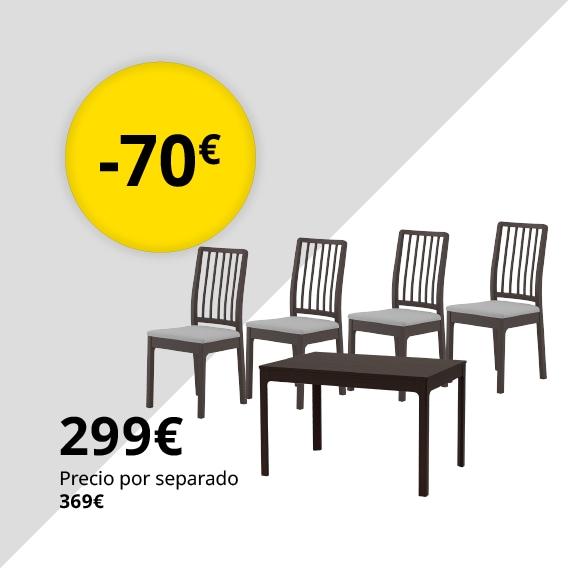 EKEDALEN / EKEDALEN Mesa con 4 sillas, marrón oscuro, Orrsta gris claro, 120/180 cm