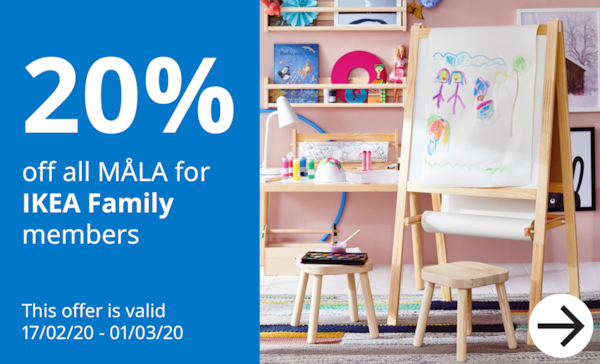 20% off MÅLA for IKEA Family Members