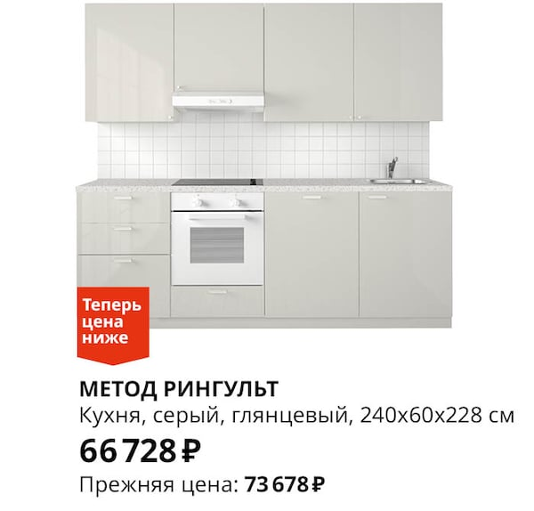 Кухонный гарнитур серый глянцевый