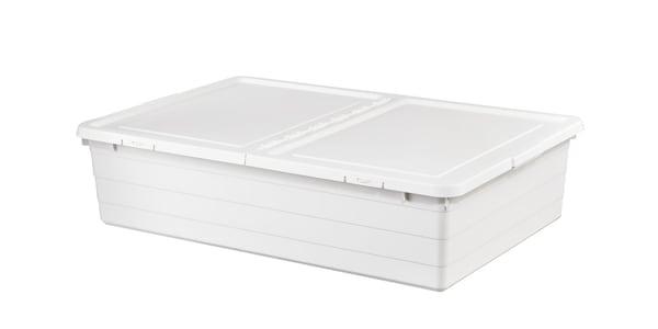 En hvid opbevaringsboks med låg, der kan være under en seng.