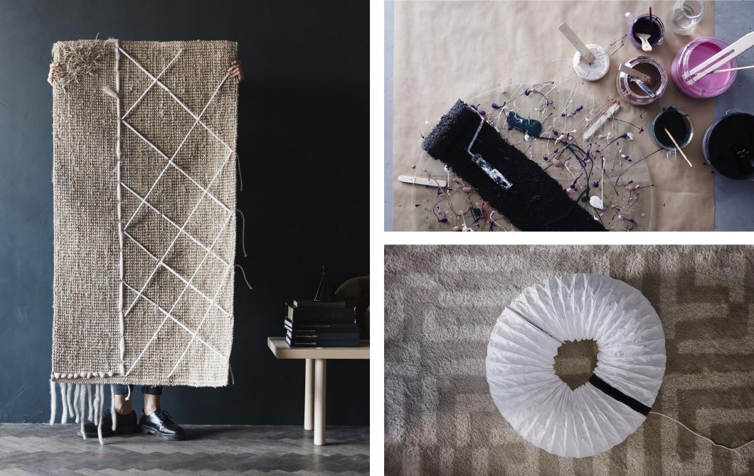 3 Bilder mit einem flachgewebten LOHALS Juta-Teppich, viele verschiedene Farben & eine Papierlaterne