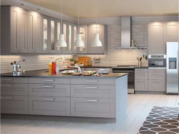 30% off gray GRIMSLOV kitchen cabinets. While supplies last, at IKEA Coquitlam only.