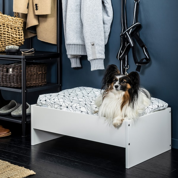 In a hallway with hanging coats and a shoe rack, a small dog sits on a white LURVIG dog bed with a geometric cushion.