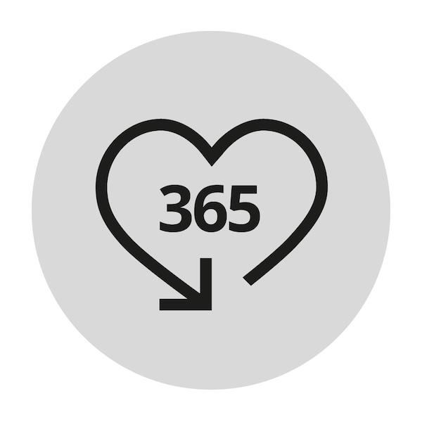 365일 무상교환을 표시하는 아이콘