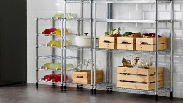 metal OMAR pantry shelves with food and beverages stored on them