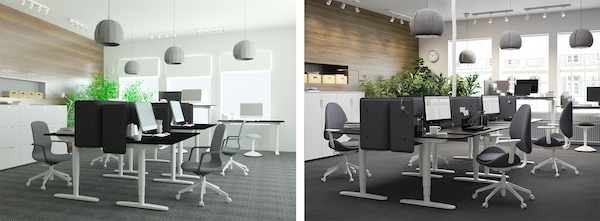 3D Bild Büro und reale Umsetzung im Unternehmen
