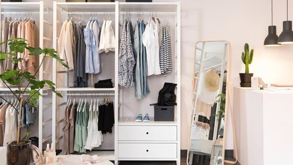 ELVARLI open storage with hanging clothes