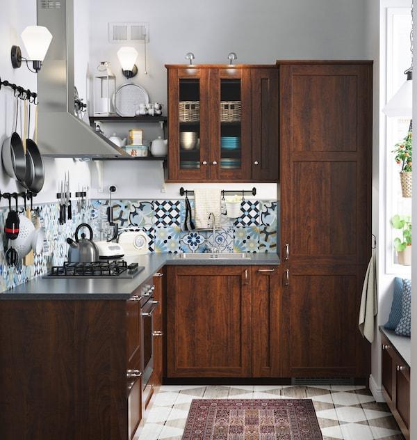 Cucina componibile EDSERUM effetto legno marrone - IKEA