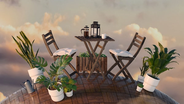 An outdoor bistro set and several large plants, on a small planet floating in a sunset sky.