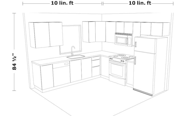 line drawing of a 10ft by 10ft sample kitchen