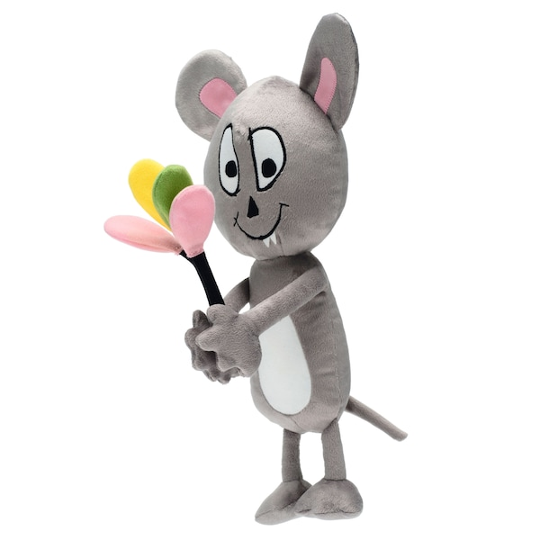A grey mouse soft toy holding balloons.