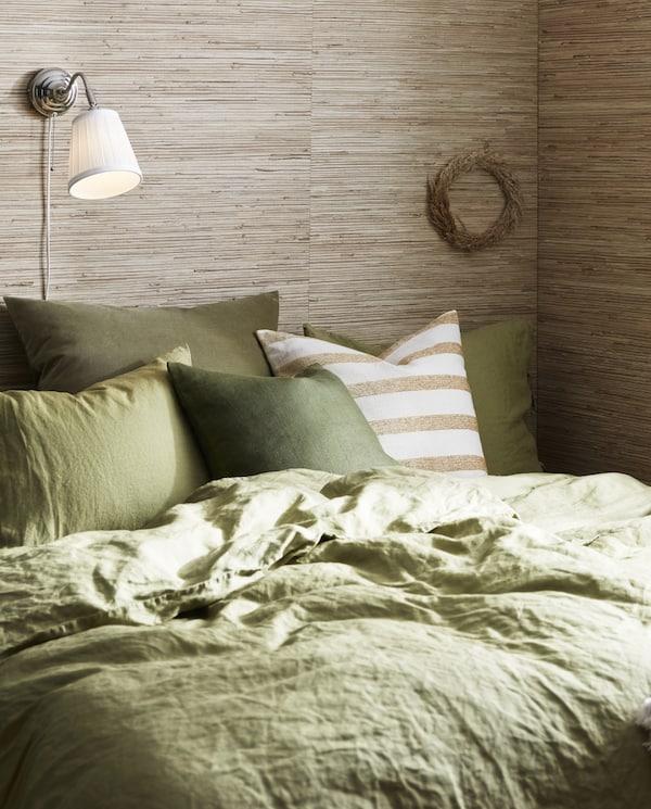 PUDERVIVA Funda nórd y 2 fundas almohada, verde oliva claro, 240x220/50x60 cm