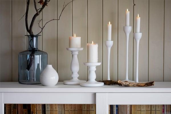 Deko, Vasen und Kerzenständer weiß