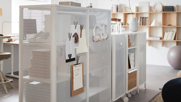 Mesh metal BEKANT storage cabinets in white