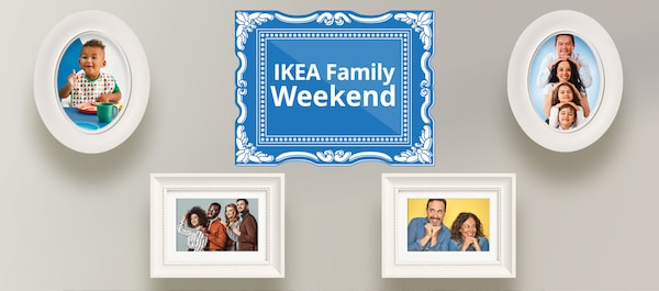 Graphic of a blue and white ornate picture frame and four white picture frames with pictures of diverse families in them.