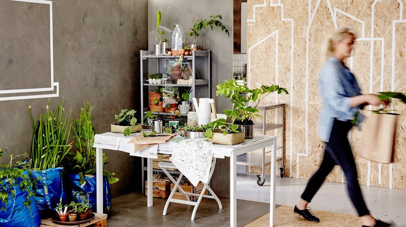 Room setting with green plants and IKEA FRAKTA bags on the floor with woman carrying plants.