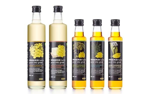 5 verschiedene Sorten der neuen SMAKRIK Öle, u. a. SMAKRIK Bio-Rapsöl