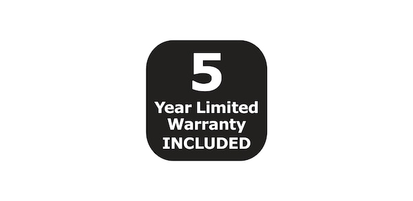 5 year limited warranty included