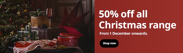 50% off all Christmas range from 1 December onwards