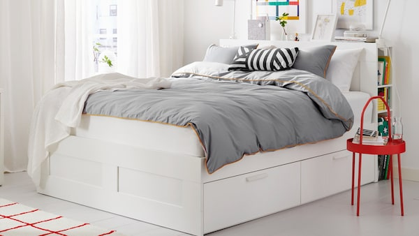 IKEA BRIMNES bed with storage and headboard storage