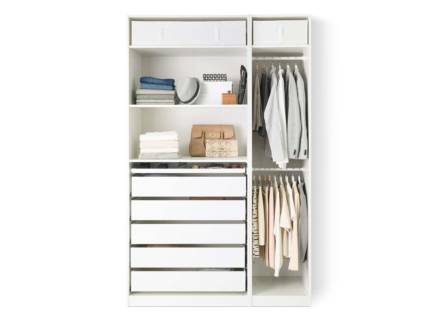 Open clothes & shoe storage system.