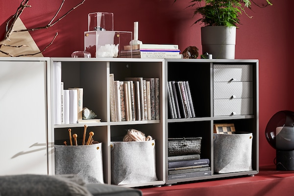 White EKET storage unit with shelves and a door.