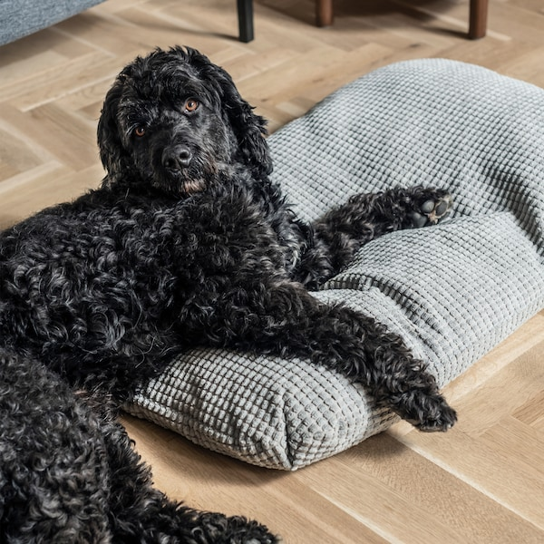A black Labradoodle dog with caramel eyes relaxes on top of a cozy gray LURVIG cushion.
