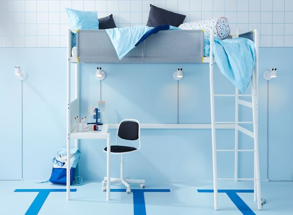 VITVAL twin loft bed frame with desktop