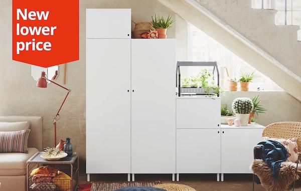 PLATSA Wardrobe, white, Fonnes white, 240x57x231 cm