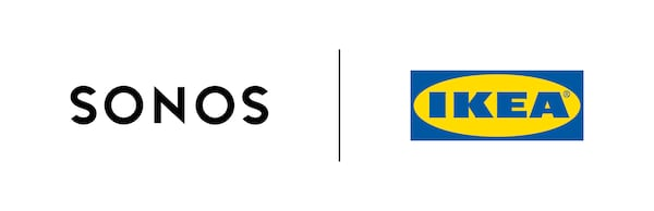 Sonos logo and the IKEA logo, representing the collaboration of creating SYMFONISK – a brand new sound series.